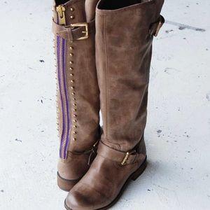 Steve Madden lynx tan/purple tall boots Sz 7